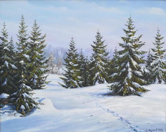 зима, пейзаж, живопись,картина
