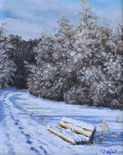 зима,,морозное утро,скамейка, картина, пейзаж, живопись