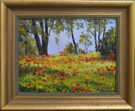 spring, poppies, painting, art
