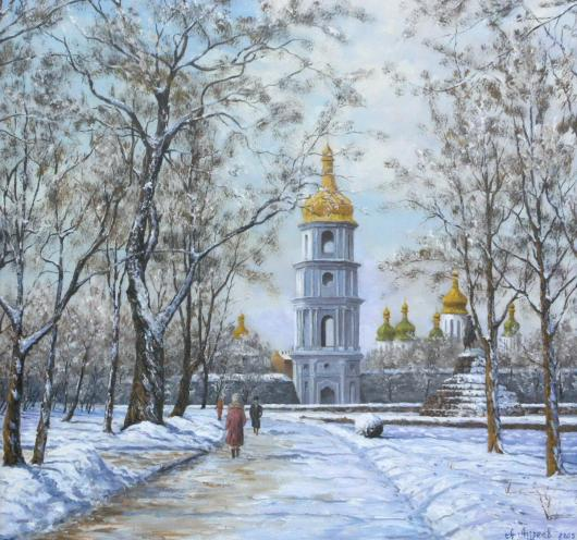 winter, landscape, painting, snow, Kiev, Sofia