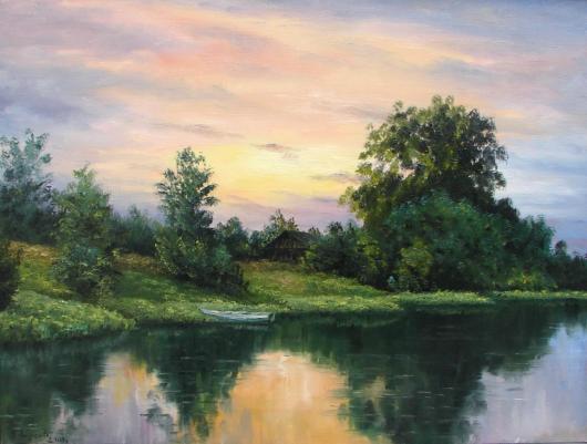 лето, река,  пейзаж, живопись,утро, соловьиный час