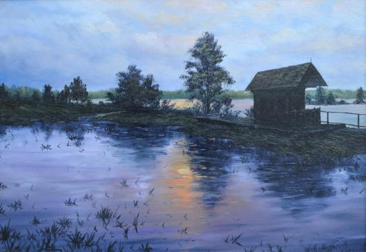 summer morning, after a rain, gatehouse, painting, art