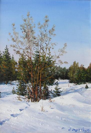 зима,  пейзаж, живопись, снег, потеплело, следы