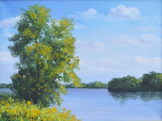 лето река утро