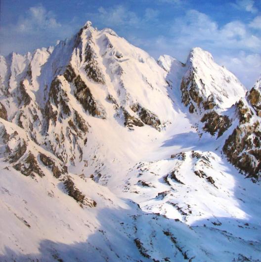 горы, зима,  пейзаж, живопись