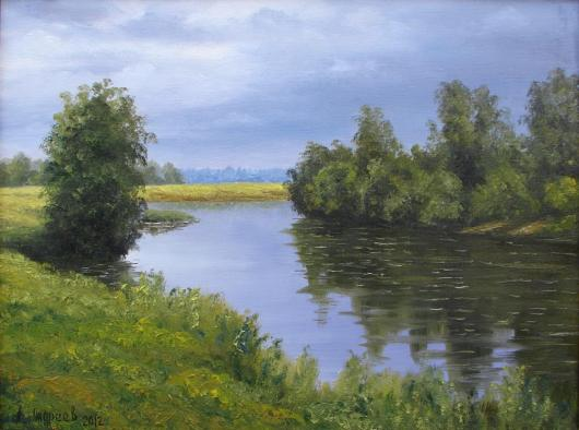 summer,  morning, the river, landscape