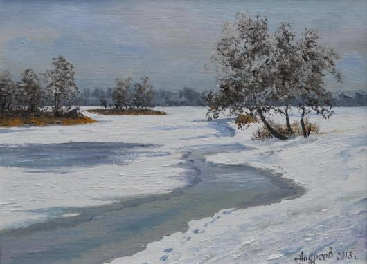 winter landscape, thaw, painting, Silence