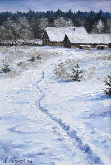 winter, landscape, painting, snow, house, footpath