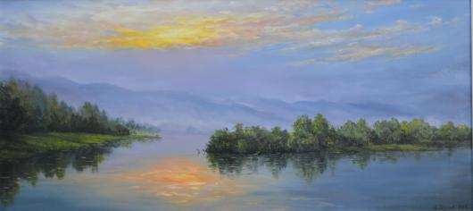 landscape, river, painting, fog