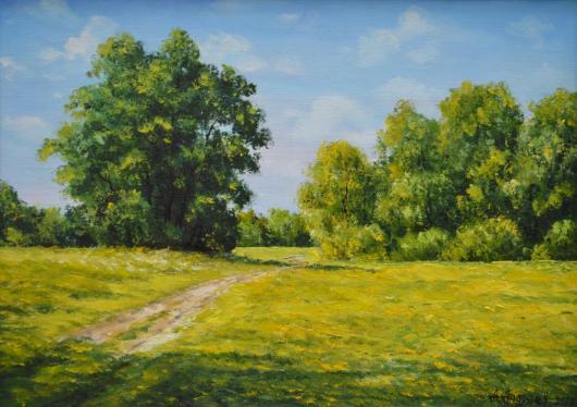 живопись, картина, лето, река, Днепр, Рось