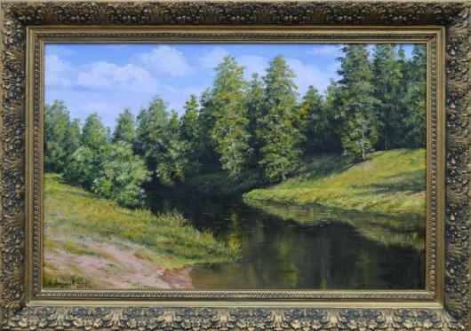 summer, river, morning, landscape, painting