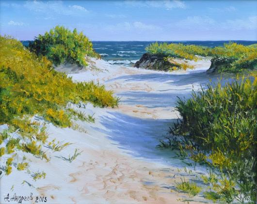Morning in the dunes,  the dunes, sea,  landscape, summer, painting