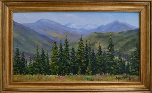 mountains, foothills, Carpathians, landscape, painting, art