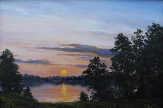 живопись, лето, вечер, картина,искусство