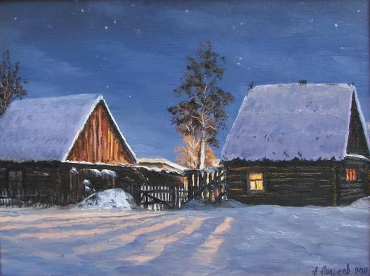 winter, landscape, night, village