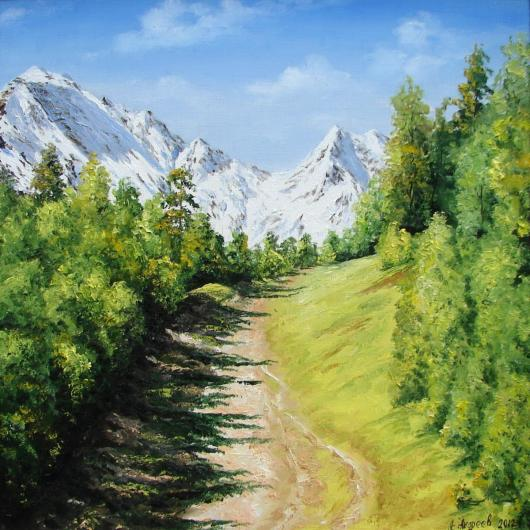 Spring, summer, mountain, landscape, painting, Tcheget