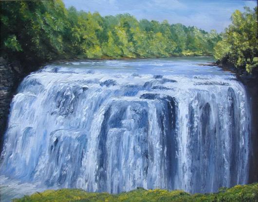 лето,  водопад