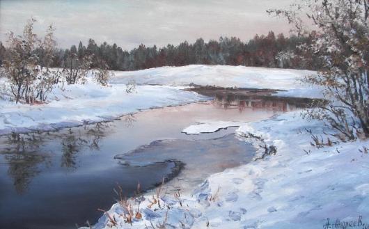 зима,  пейзаж, живопись, снег, весна
