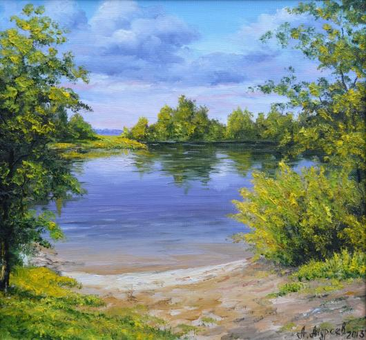 summer, river, morning, landscape, painting,backwater