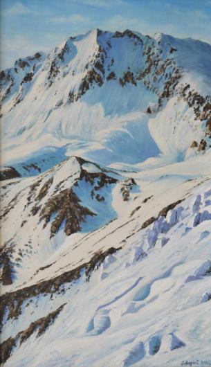пейзаж, горы, картина, снег, зима
