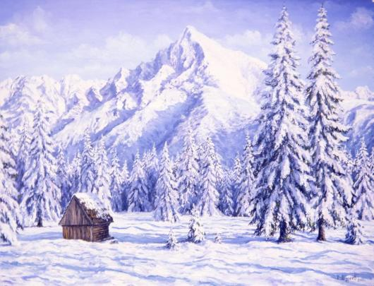 mountains, winter, Alps, landscape, painting