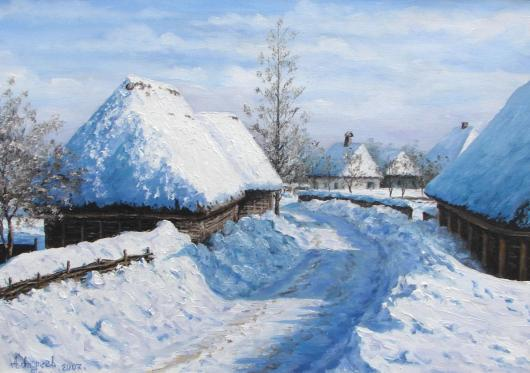 winter landscape, village
