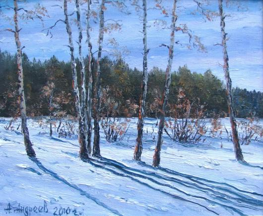 winter, landscape, painting, snow, morning