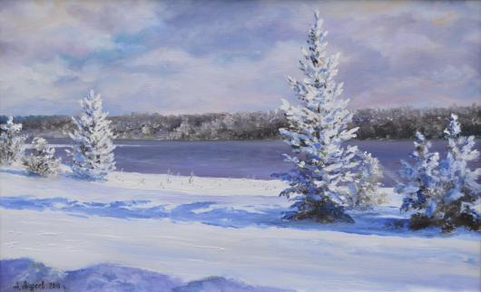 зима, пейзаж, утро, река, живопись