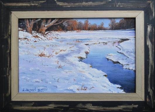 winter landscape, thaw, painting