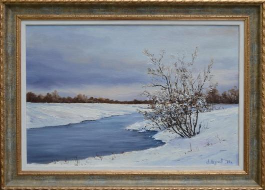 Winter, landscape, painting, March