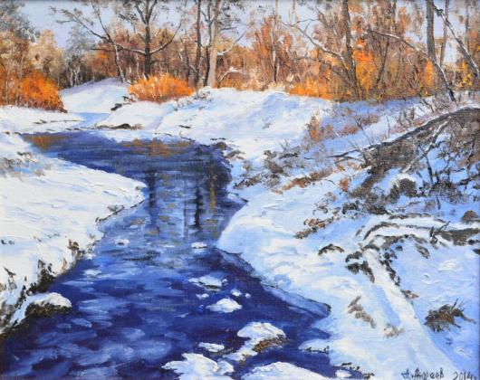зима, оттепель, сказка, живопись, пейзаж
