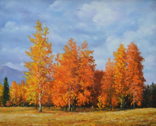Gold, autumn, landscape, painting