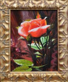 Roses, flowers, summer, a landscape, painting