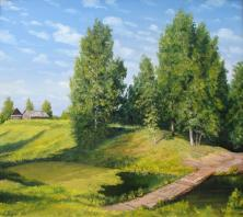summer, landscape, village